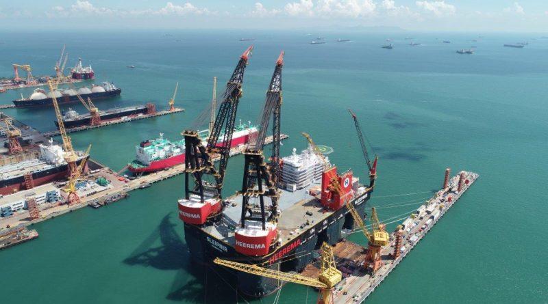 Sembcorp Marine's world's heaviest semi-submersible crane vessel, Sleipnir.